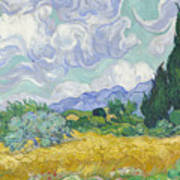 A Wheat Field, With Cypresses Poster