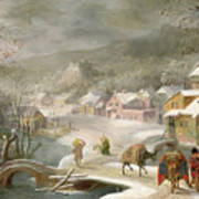 A Winter Landscape With Travellers On A Path Poster