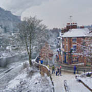 A Wintry Street Scene In Ironbridge Gorge England Poster