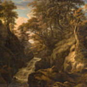 A Wooded Landscape With A Waterfall And A Fisherman Walking Along A Path Poster