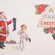 A Xmas Greetings With Santa And Child Vintage Card Poster