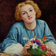 A Young Girl Arranging A Bouquet Poster