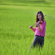 A Young Girl In A Folk Costume Plays A Vivaro In A Green Rice Fi Poster