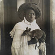 A Young Kenyan Woman Holds Her Pet Deer Poster by Underwood And Underwood