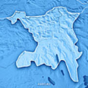 Aargau Canton Switzerland 3d Render Topographic Map Blue Border Poster