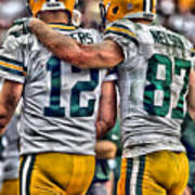 Aaron Rodgers Jordy Nelson Green Bay Packers Art Poster