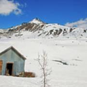 Abandon Building Alaskan Mountains Poster