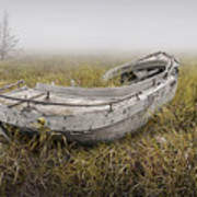 Abandoned Boat In The Grass On A Foggy Morning Poster