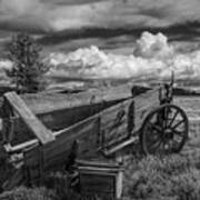Abandoned Broken Down Frontier Wagon In Black And White Poster