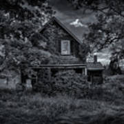Abandoned Home In Lubec Maine Bw Version Poster