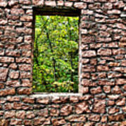 Abandoned Stone Wall With Window Poster