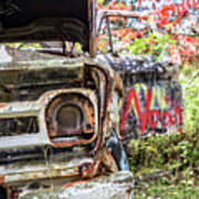 Abandoned Truck With Spray Paint Poster
