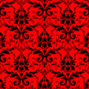 Abby Damask In Black Pattern 02-p0113 Poster