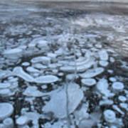 Abraham Lake Ice Bubbles Poster