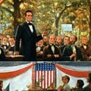 Abraham Lincoln And Stephen A Douglas Debating At Charleston Poster by Robert Marshall Root