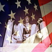 Abraham Lincoln Memorial Blended With American Flag Poster