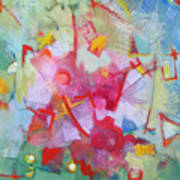Abstract 2 With Inscribed Red Poster