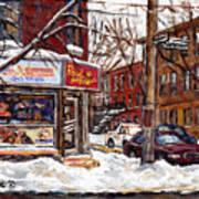 Rue De Pointe St Charles En Hiver Scenes De Rue De Montreal Peinture Originale A Vendre Paul Patates Poster