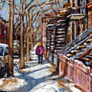 Scenes De Ville De Montreal En Hiver Original Quebec Art For Sale Montreal Street Scene Poster