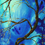 Abstract Art Asian Blossoms Original Landscape Painting Blue Veil By Madart Poster