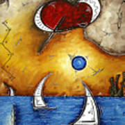 Abstract Art Contemporary Coastal Cityscape 3 Of 3 Capturing The Heart Of The City I By Madart Poster