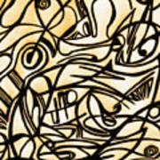 Abstract Art Gold 2 Poster