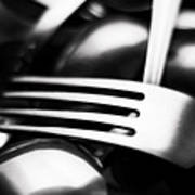 Abstract Black And White Photo Of Mixed Silver Forks Poster