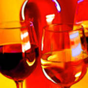 Abstract Bottle Of Wine And Glasses Of Red And White Poster