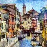Abstract Canal Scene In Venice L B Poster