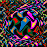 Abstract Colorful Art Exploded View Of Whirlwind At Its Builds On Dry Leaves Poster