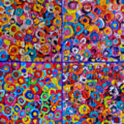 Abstract Colorful Flowers 4 Poster