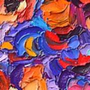 Abstract Colorful Flowers Impasto Palette Knife Modern Impressionist Oil Painting Ana Maria Edulescu Poster