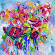 Abstract Colorful Flowers Poster