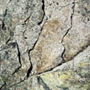 Abstract Cracks On A Granite Block Of Stone Poster