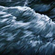 Abstract Dark Waves On The River Poster