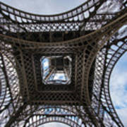 Abstract Eiffel Tower Looking Up Poster