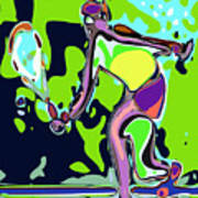 Abstract Female Tennis Player 2 Poster