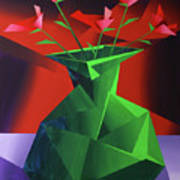 Abstract Flower Vase Prism Acrylic Painting Poster by Mark Webster