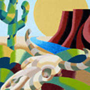 Abstract Futurist Soutwestern Desert Landscape Oil Painting  Poster