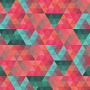 Abstract Geometric Colorful Endless Triangles Abstract Art Poster