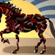 Abstract Geometric Futurist Horse Poster