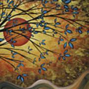 Abstract Golden Landscape Art Original Painting Peaceful Awakening I Diptych Set By Megan Duncanson Poster