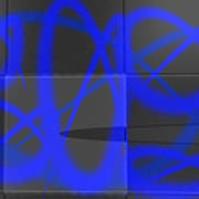 Abstract Graffitis In Blue Poster