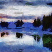 Abstract Invernal River Poster