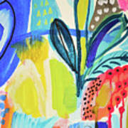 Abstract Jungle And Wild Flowers Poster