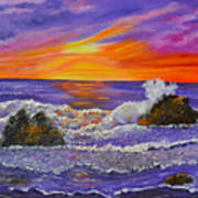 Abstract Ocean- Oil Painting- Puple Mist- Seascape Painting Poster