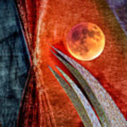Abstract On Moon Poster