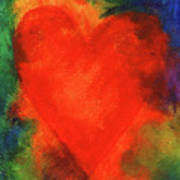Abstract Orange Heart 2 Poster