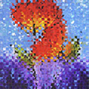 Abstract Red Flowers - Pieces 5 - Sharon Cummings Poster