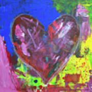 Abstract Red Heart Acrylic Painting Poster